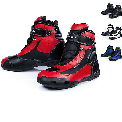 Black FC-Tech Short Motorcycle Paddock Boots Ankle Motorbike Scooter All Sizes