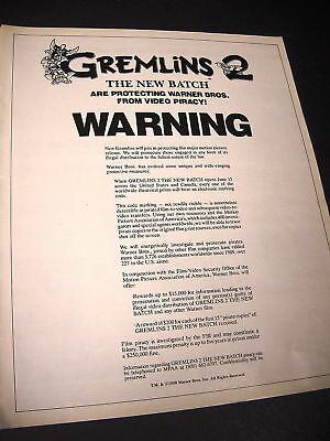 GREMLINS 2 Promo Poster Ad from 1990 WARNING ON PIRACY
