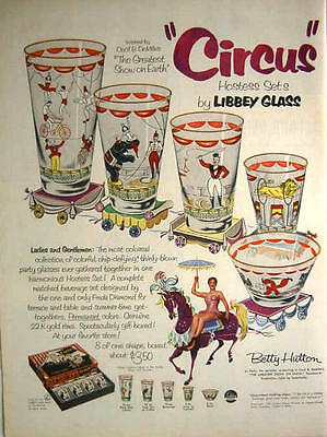 1952 Libbey Glass - Circus Pattern Party Glasses - Betty Hutton Print Ad!