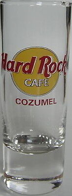 """Hard Rock Cafe COZUMEL MEXICO 4"""" SHOT GLASS Classic HRC Logo w/ RED Text Cordial"""