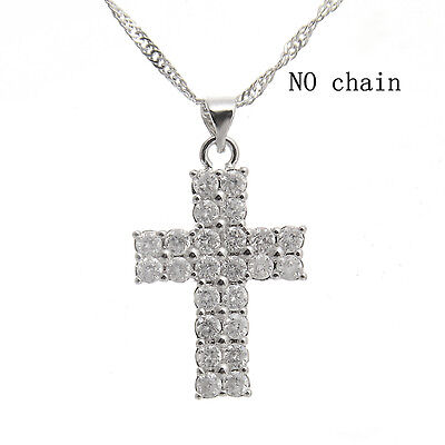 Charm 18k White Silver Cross Pray Clear Crystal Pendant Necklace Hot Fashion