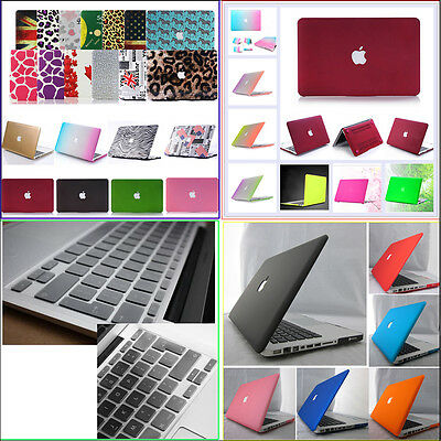 """Rubberized Hard Case+EU/ UK Clear Keyboard Cover for Macbook Air Pro 11"""" 13"""" 15"""""""