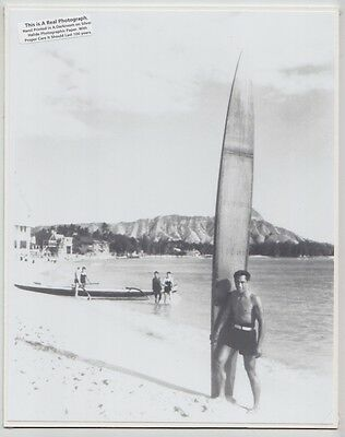 "Duke Kahanamoku At Waikiki 1935+? Oahu Hand Printed Photograph On 8X10"" Mat"