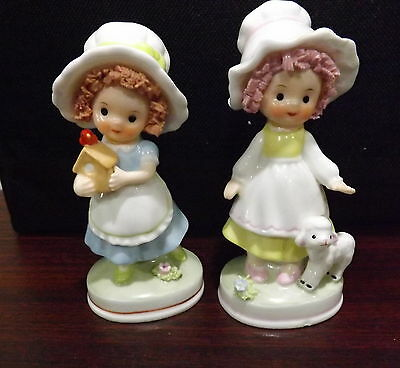 2 Cute Porcelain Napcoware Girls with Spaghetti Hair Figurines