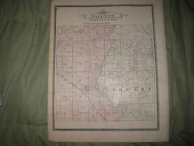 Antique Fayette Buffalo Township Palo Waubeek Linn County Iowa Handcolor Map Nr