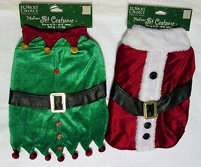 New Dog Pet Christmas Costume sz. Med. choose from Santa OR an Elf