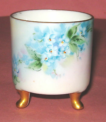 Handpainted Blue Floral Toothpick Holder - Signed By Artist - Very Nice