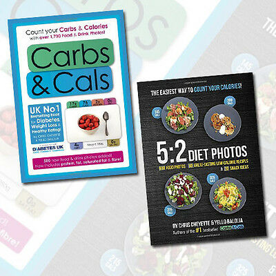 Chris Cheyette 5:2 Diet Photos,Carbs & Cals: Count 2 Books Collection Set NEW UK