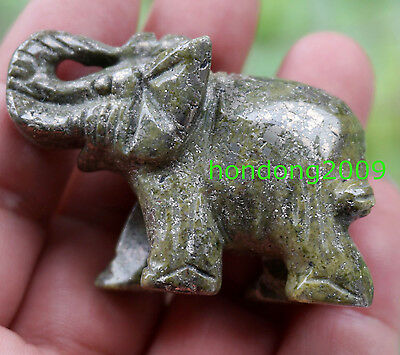 Natural pyrite Crystal Gemstone Hand Carved Elephant Figurine 2''