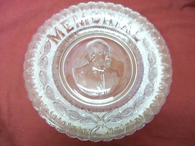 Antique 20th President James Garfield Memorial Mourning Bread Plate Glass