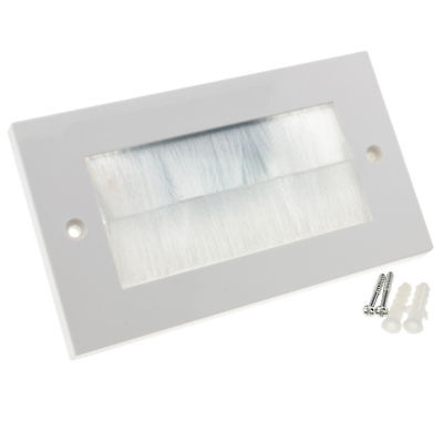 WHITE BRUSH Faceplate for Cable Exit/Wall Outlet UK Double Gang White [007624]
