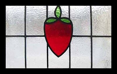 Pretty Strawberry Art Deco English Stained Glass Window