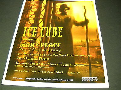 ICE CUBE Dramatic 1998 PROMO POSTER AD for release of WAR & PEACE mint condition