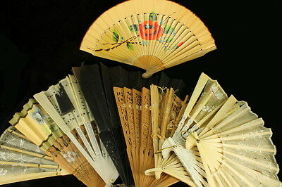 Antique Fans Qing Dynasty Cinese European Collection of 9 Carved BRISE CAMPHOR F