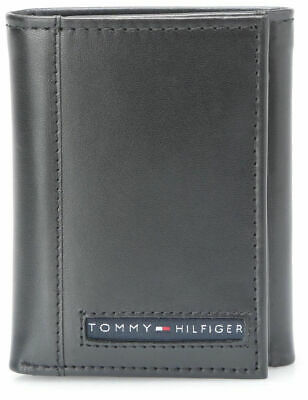 Brand New Tommy Hilfiger Men's Leather Credit Card Wallet Trifold Black 5676-1
