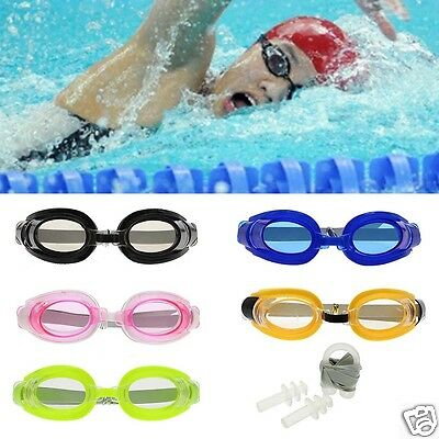 Black Frame Earplug & Nose Clip & Summer Water Sport Outdoor Swimming Goggles