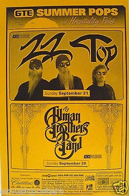 ALLMAN BROTHERS & ZZ TOP 1997 SAN DIEGO CONCERT POSTER - BLUES ROCK MUSIC
