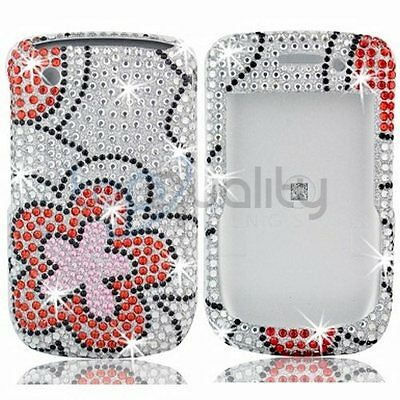 Red Flower Bling Rhinestone Hard Skin Case for Blackberry Curve 8530 3G 9330