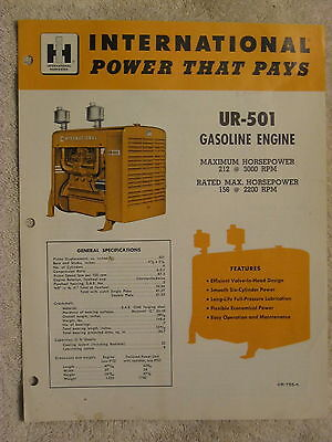 1950's IH INTERNATIONAL HARVESTER UR-501 STATIONARY GAS ENGINE BROCHURE