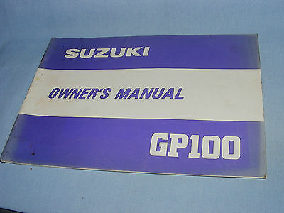 Suzuki GP100 Motorcycle Owner's Manual, Original Publication 1980 Suzuki GP100
