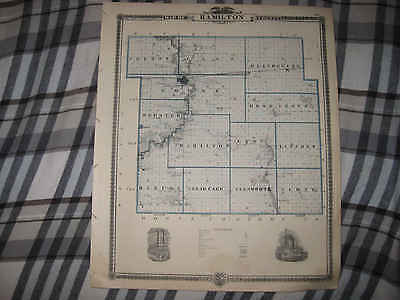 Superb Antique 1875 Boone Hamilton County Webster City Boonsboro Iowa Map
