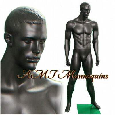 Male display muscular mannequin, black,chacoal gray,full body manikin -MA12-1