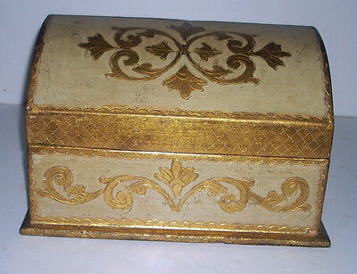 Vintage Italian Wooden Hand Carved Painted & Gilt Upright Stationary Box