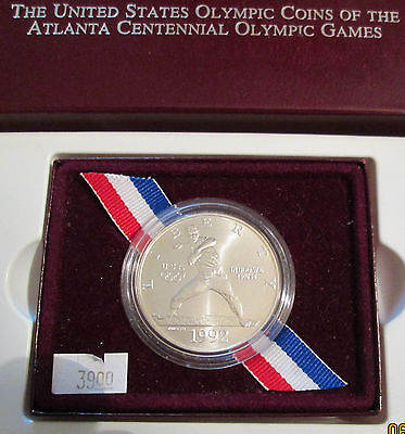 1992 Olympic Commemorative Silver Dollar UNC with US Mint Box COA