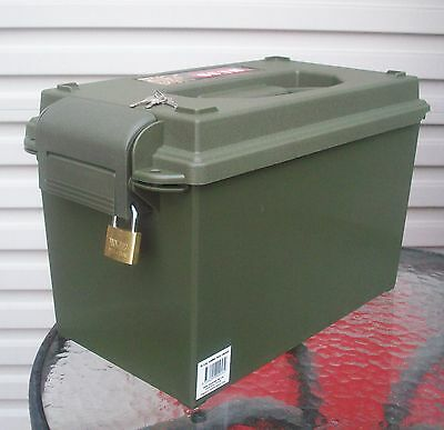 Plastic Lockable Army Ammo Box - 50 Cal - Tools- Crafts - Military - As New