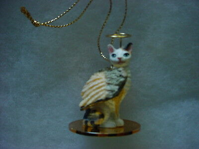TORTOISE WHITE REX kitty CAT ANGEL Ornament HAND PAINTED Figurine Statue kitten