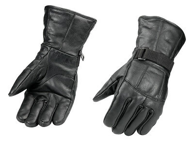 Adult All Season Leather Gloves - Black - Snowmobile ATV Motorcycle - Riding