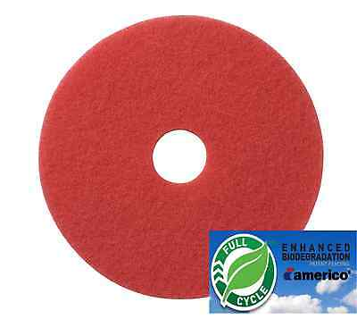 """20"""" Red Floor Scrubbing Buffer Pads Box of 5, Daily Cleaning and Spray Buffing"""