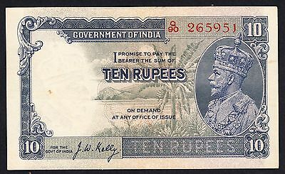 Government of India George V  10 Rupees J.W.Kelly Q/90 P. 16b  Jhun.8.2 EF Note