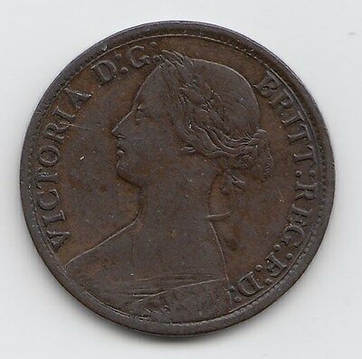 Very Rare 1863 Victoria Farthing 1/4d