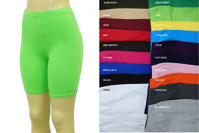 Women Cotton Spandex Yoga Gym Legging Biker Shorts Reg Plus 23 Color S-5X Usa