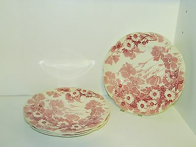 "4 VINTAGE WOOD & SONS CHINA PINK/RED ""GAY DAY"" 10"" DINNER PLATES-ENGLAND"