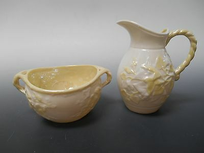 Belleek IVY-YELLOW Set of 2 Creamer and Open Sugar Bowl