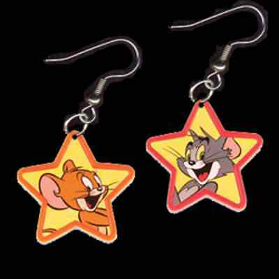 Funky TOM & JERRY EARRINGS-Cute Cat Mouse Cartoon Charms Novelty Costume Jewelry