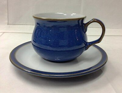 """Denby """"imperial Blue"""" Teacup & Saucer Stoneware New Made In England"""