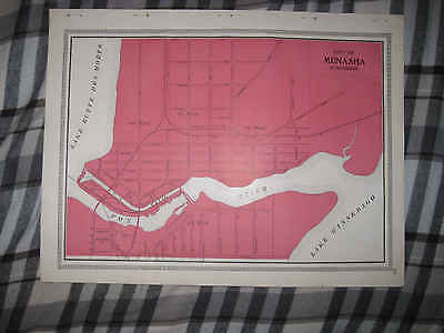 Antique 1909 Menasha City Winnebago County Wisconsin Map Canal Superb Nr