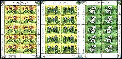 Moldova - 2008 - Water Plants, 3 sheets of 10v