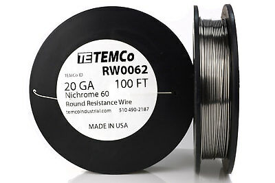 TEMCo Nichrome 60 series wire 20 Gauge 100 Ft Resistance AWG ga