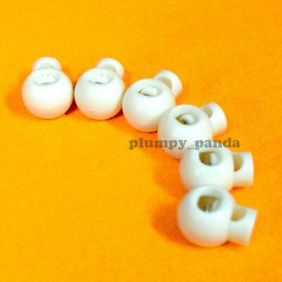"""Ball ( Choose Qty ) Cordlock ( hole:1/4"""" ) White Round Cord Lock Rope Holder End"""