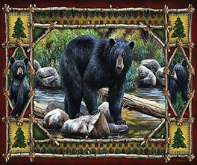 Black Bear Rustic Cabin #1  Image   Computer Mouse Pad 9 X 7