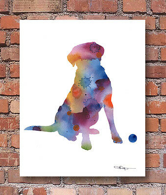 FLAT COATED RETRIEVER Contemporary Watercolor Abstract ART Print by Artist DJR