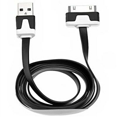 20X Flat USB Sync Data Charging Charger Cable Cord For iPhone 4 4S 4G Black USA