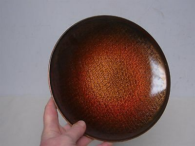 "Vintage Mid Century David Andersen Norway Enamel On Bronze 8"" Plate Gold Shimmer"
