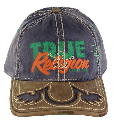 New True Religion Unisex Distressed Suede Trimmed Baseball Hat Cap Navy Tr1483