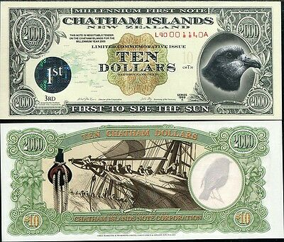CHATHAM ISLAND 10 DOLLARS 1999 POLYMER LARGE 1st ISSUED UNC