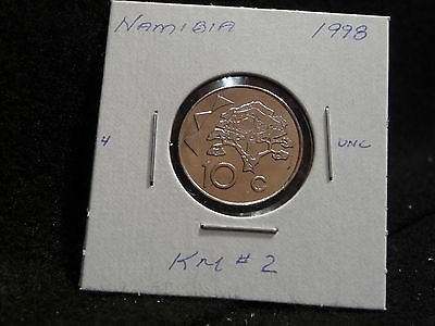 NAMIBIA:   1998      10 CENTS    COIN  GEM   (UNC.)    (#1794)  KM # 2
